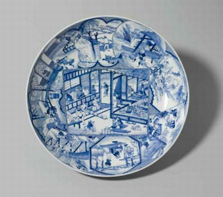 Dish with scenes from a porcelain factory / unknown 1830-1850