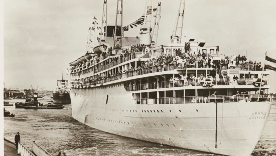The passenger ship the Oranje at the arrival in Amsterdam, 1946