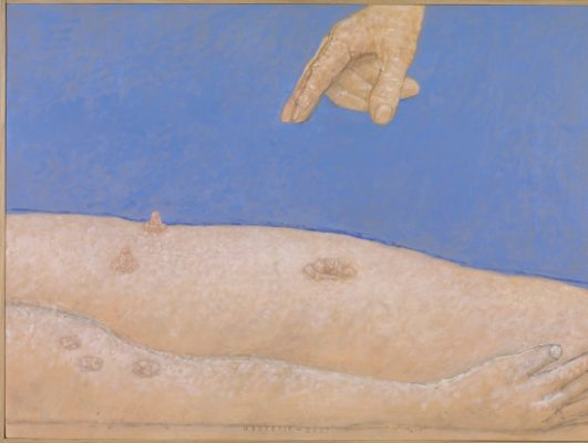 Co Westerik, 'Hand above Torso', (2007, oil paint, alkyd and tempera on canvas on panel) canvas on panel). Museum Boijmans Van Beuningen, Rotterdam.