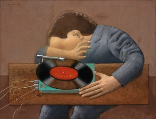 Co Westerik, 'Gramophone Player' (1971, oil and tempera on canvas on panel). Museum Boijmans Van Beuningen, Rotterdam.