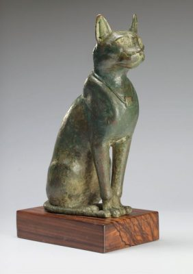 23 Large bronze seated cat Egypt