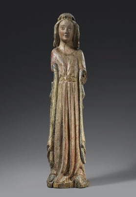 Crowned Saint, Rhine-Meuse Region (Cologne), c. 1270, poplar. Offered at Cologne Fine Art & Design 2019 by Elmar Robert Cologne.