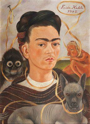 Frida Kahlo, Self-Portrait with Small Monkey, 1945, oil on masonite. Collection Museo Dolores Olmedo, Xochimilco, Mexico © 2020 Banco de México, Fideicomiso Museos Diego Rivera y Frida Kahlo. Av. 5 de Mayo 2, col. Centro, Cuauhtémoc, 06000, Ciudad de México/ Reproduction authorized by El Instituto Nacional de Bellas Artes y Literatura, 2020