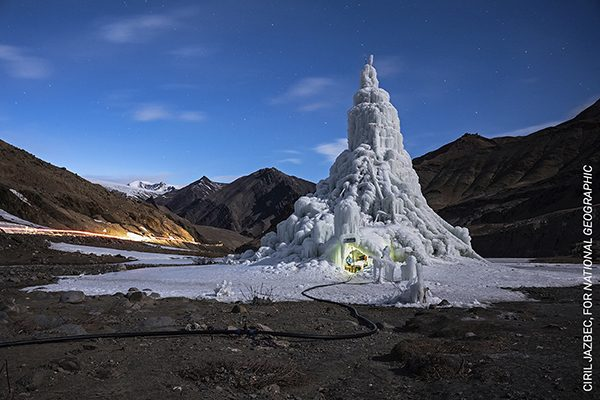 The youth group that built this ice stupa in the village of Gya installed a café in its base. They used the proceeds to take the village elders on a pilgrimage. By Ciril Jazbec