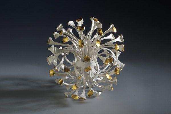 Ontluiking IV 2014 silver, gold leaf,  Fred Weegenaar